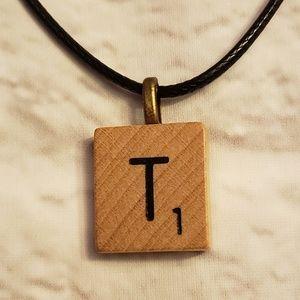 Initial T Scrabble Tile Necklace